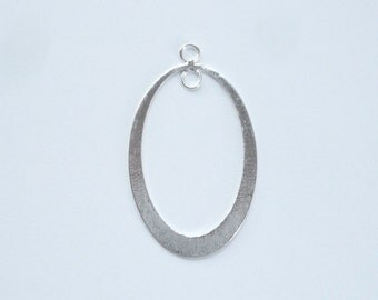Sterling silver,one side brushed,one side shiny   flat oval finding with two loops (32x19mm)
