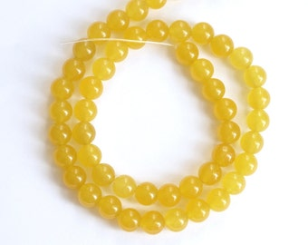 8mm  Yellow jade round beads,