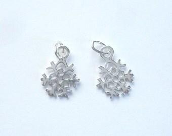 2 pcs Sterling silver  Snowflake charm (13x10mm)