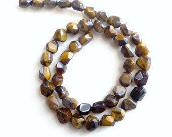 Full strand Tiger eye faceted nugget  beads (7-10mm)