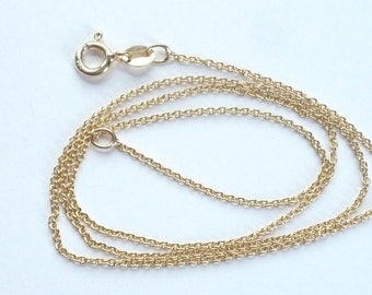 16 inches Gold Vermeil  cable  link chain (1x1.5mm,Gold plated sterling silver