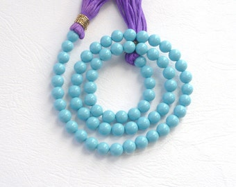 1/2 strand 8mm Turquoise blue Shell based beads,
