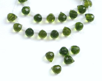 6  Pcs Olive oil green  faceted ,  teardrop,   briolette glass beads (11x8mm),