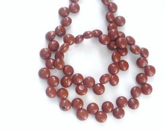 1/2 strand Red jasper   coin briolette beads (8mm)