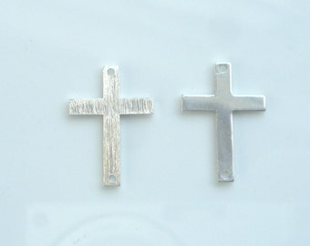 2 pcs sterling silver sideway cross connector, link(12x18mm)
