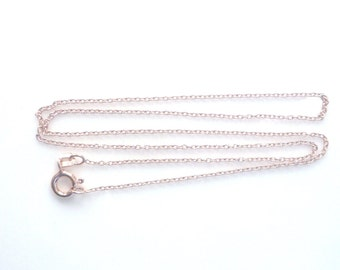 16 inches Rose gold cable link chain, finished chain, necklace chain. (1x1.5mm)