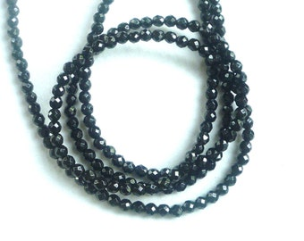 1/2 strand 4mm Black Onyx faceted round beads