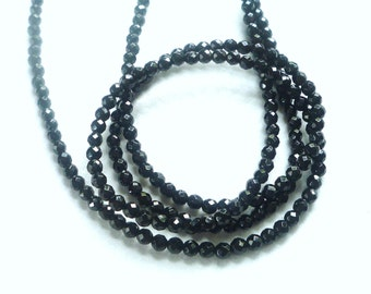 4mm Black Onyx faceted round beads , FULL STRAND