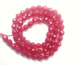 6mm Red Jade faceted  round beads ,1/2 strand
