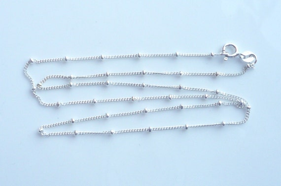 20 inches, Sterling silver  finished necklace chain with sterling silver beads(2mm), satellite curb chain