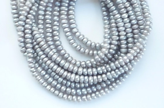 Silver Gray, button  freshwater pearl (5mm), FULL STRAND