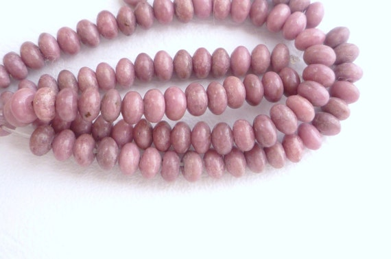 1/2 strand  Rhodonite rondelle  beads (6x4mm)
