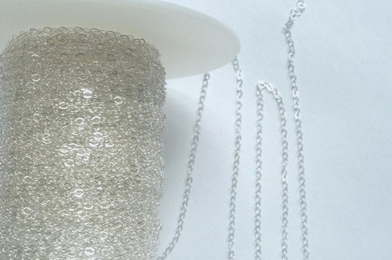 5FT (2x1.5mm)  Sterling silver, flat cable chain,
