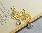 Light Drops Gold Plated Earrings - Mint Green Crystal and Gold plated Lace component, Bridesmaid, Wedding Jewelry
