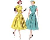 50s Dress Pattern / 1950s Vintage Sewing Pattern Dress Full Skirt / Butterick 6018 / Size 14, bust 32