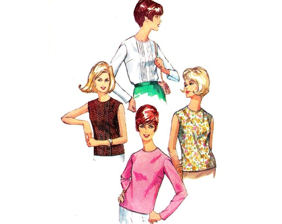 1960s Vintage Sewing Pattern Mod Pleated Blouse / Simplicity 6449 / Size 12, bust 32