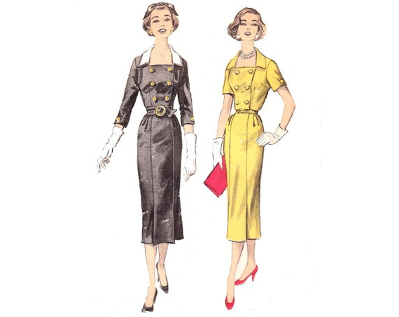 SALE. 1950s Vintage Sewing Pattern Sheath Dress / Advance 8477 / Size 12, bust 32. 15% off.