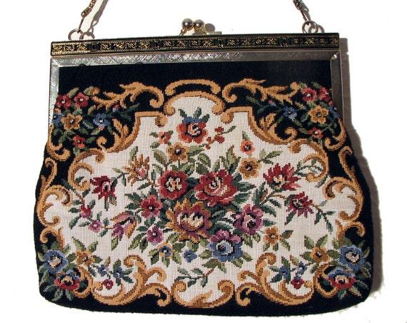 Vintage Tapestry Bag / 90s Does 50s Bag