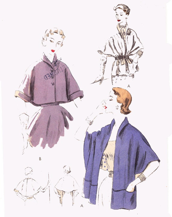 RESERVED 1950s Vintage Sewing Pattern Stole / Vintage Cape Capelet / Vogue 7324