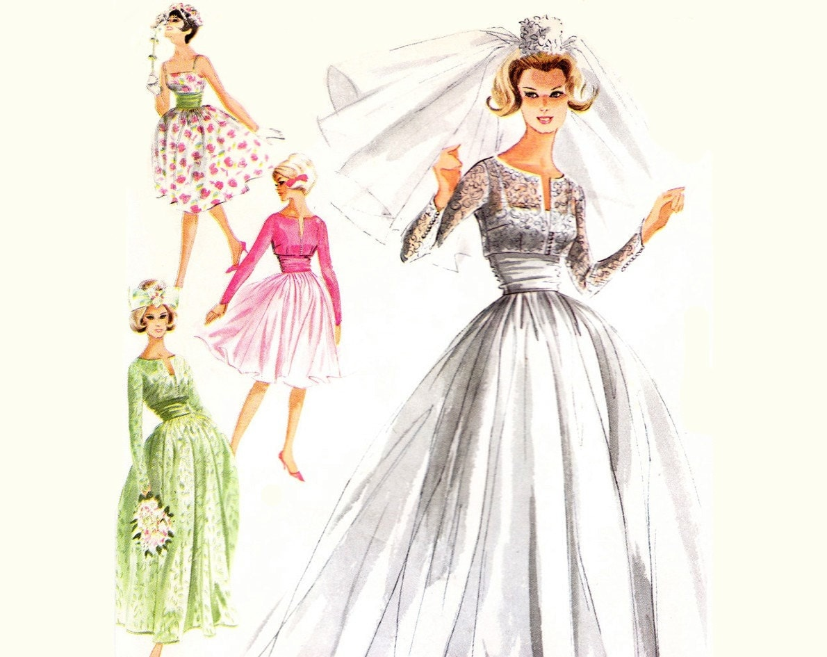 60s wedding dress pattern 1960s vintage by for Wedding dress patterns vintage