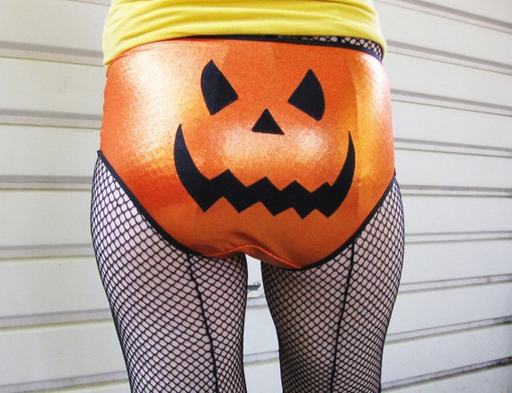 Roller Derby shorts for Halloween Jack O Lantern