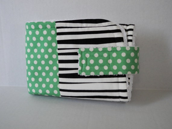 embroidered travel changing pad green, black, and white polka dot