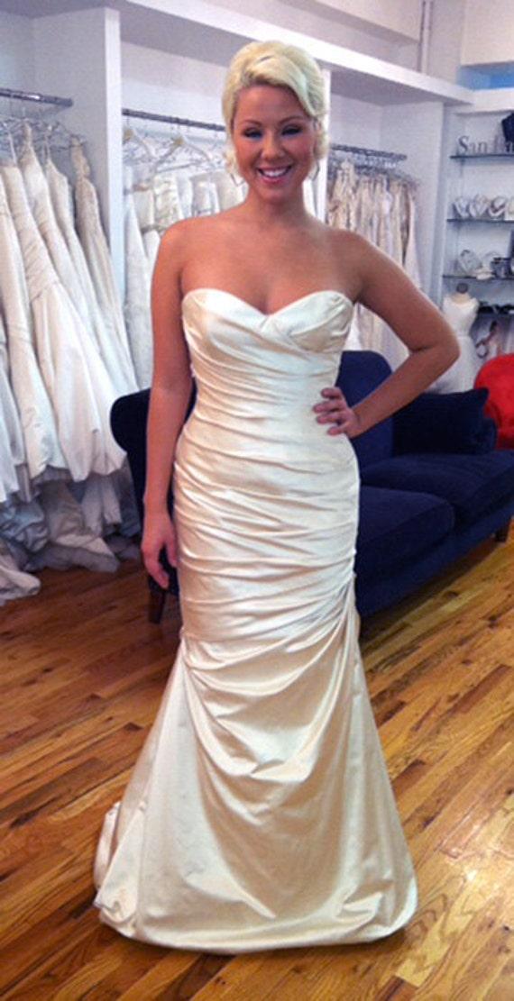 Blush Duchess Silk Satin Wedding Dress Low Back SAMPLE SALE