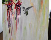 OOAK Hummingbird Flowers Bleed 18x18 Original Recycled Acrylic Painting by Brianna