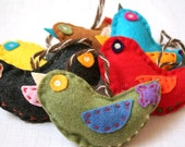 Embroidered Partridge Bird Eco Felt Ornaments