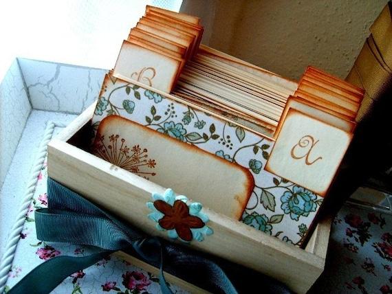 Rustic Wedding Wish Guest Box, Address File Box, Recipe Box - (No. 029)