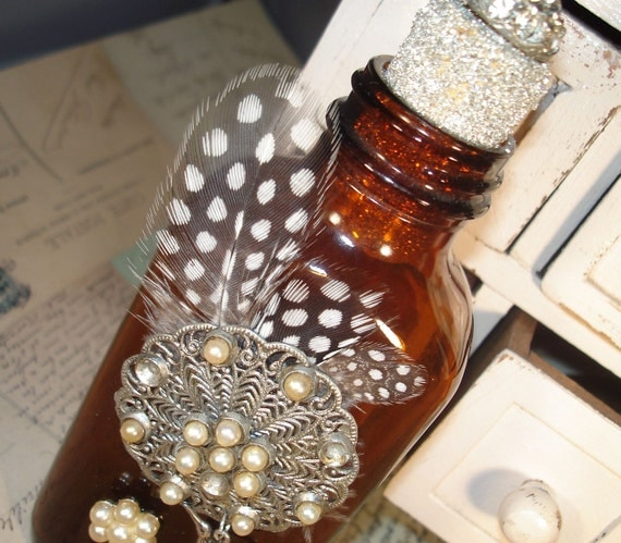 Adorned Bottle   Feathers Birds and Pearls