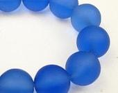 Sea Glass Beads - 8mm Round Matte Medium Blue (10 pieces)