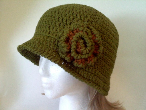 Green Cotton Cloche Hat with Green and Brown Flower