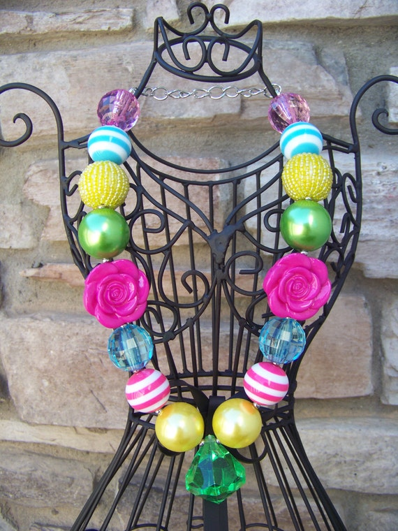 Girls Chunky Hot Pink Green Yellow and Turquoise With Jewel Diamond Pendant