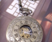 SALE Roman vintage style mechanical pocket watch with 28 inches necklace chain