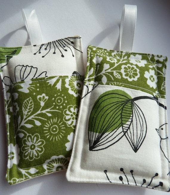 Green Flowered Lavender Bags