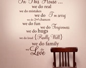 IN THIS HOUSE Wall Words  Vinyl Decal Rules Quote - Wall Decor Lettering Art - 057-2