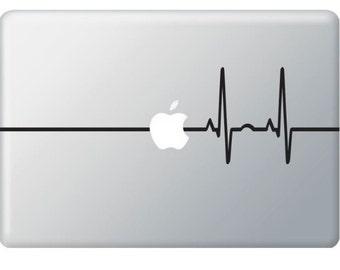 Beat Heart Line Apple - Stickers Macbook ,Laptop ,IPad Love Decals - Buy 2 get 1 Free