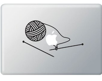 Knitting ,Knit Needles Stickers Decal for Macbook, Macbook Pro, IPad and Laptops