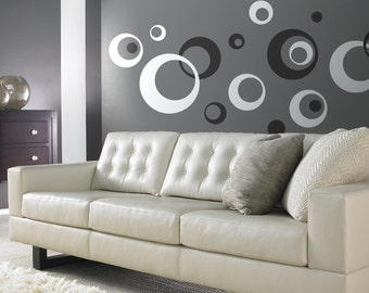 Retro Wall Vinyl Sticker Decal Circles Rings Dots Kids 2 color