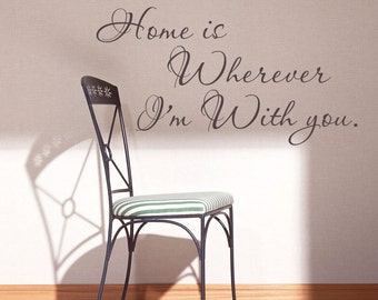 Famous quotes Home is wherever I'm with you  Wall words vinyl love quote décor - 054