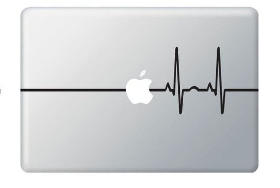 Beat Heart  Line Apple - Stickers Macbook ,Laptop ,IPad  Love Decals
