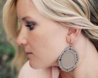 The GEORGIA - Khaki/Tan Large LIGHTWEIGHT Frame Shaped Earrings