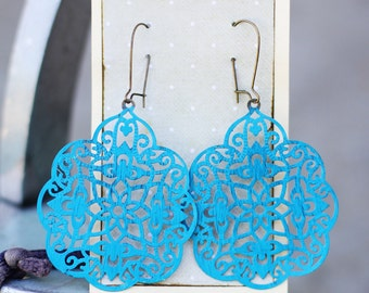 MAUDE - Large Filigree QUATREFOIL Turquoise Painted Filigree Dangle Earrings- ANTHROPOLOGIE - Bridesmaid Gifts, Stocking Stuffer