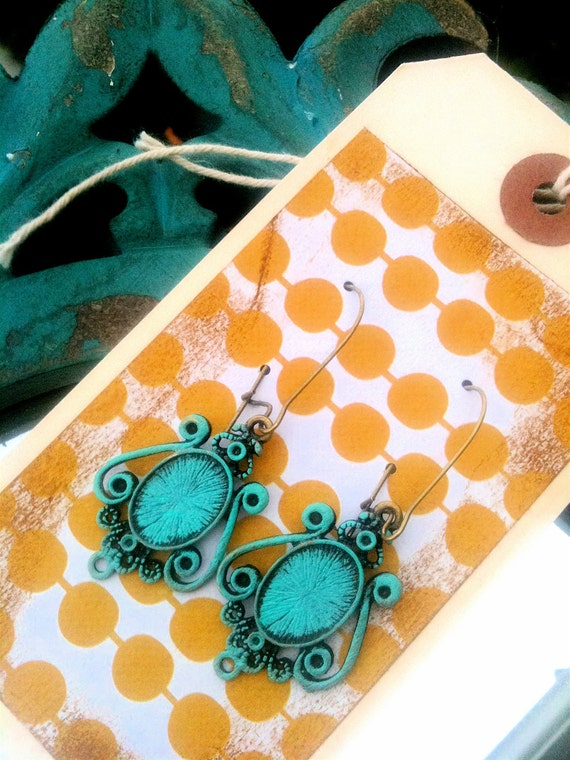 THELMA - Aqua Chandelier Style Dangle Earrings- Family Pictures, Stocking Stuffer or Bridesmaid Gifts