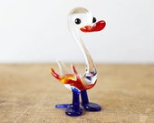 RESERVED Glass Small Figurine Bird Duck Swan Animal Figure Blue Red