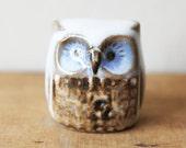 Small Pottery Owl Figure Handmade Woodland Bird Figurine - Brown Blue Cream Natural