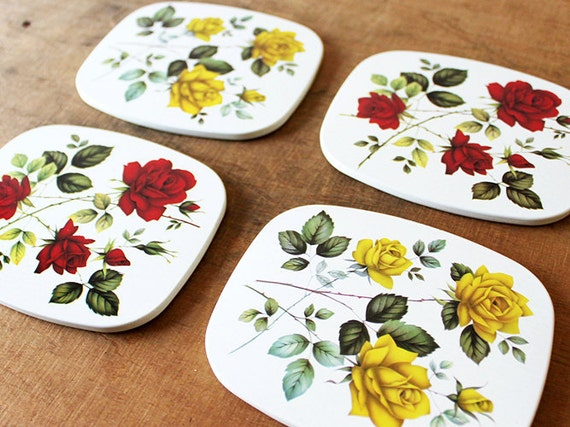 Rose Floral Coasters - Flower Red Yellow set of 4