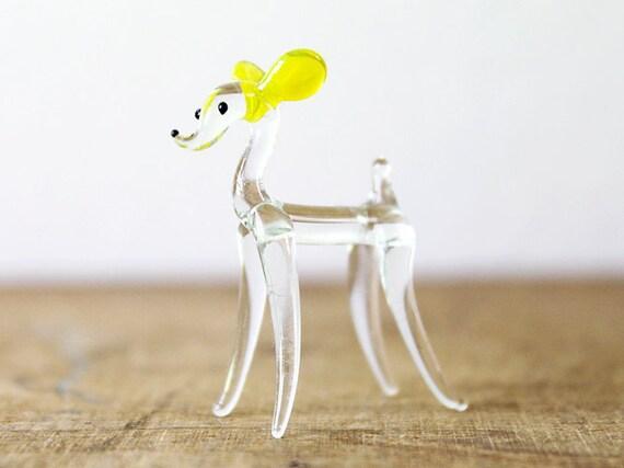 SALE Glass Miniature Figurine Dog Animal Figure Yellow Ears