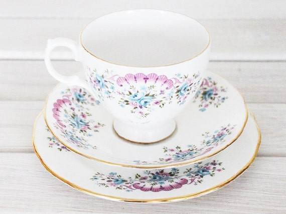 Vintage Teacup and Saucer Trio Cup - Tea Party Floral Pink Blue Plate Bone China England